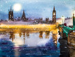 London, Westminster Abbey, Westminster Bridge at dusk. Snow. Wat