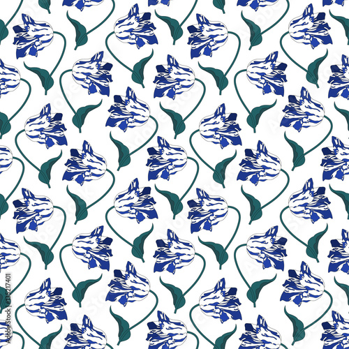Fototapeta Pattern with tulips.Seamless vector floral print.Spring textile texture
