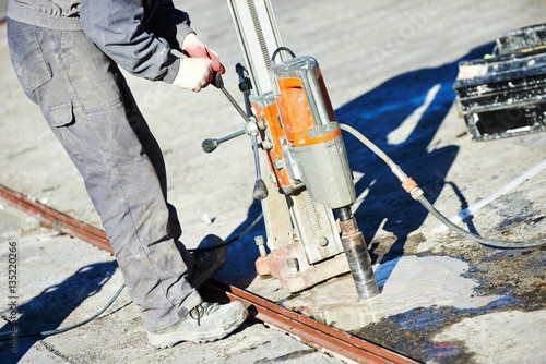 Poster industrial concrete drilling at construction demolition work