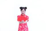 China women,Asian women wear red dress chinese style cheongsam a