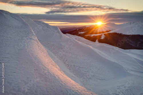 Bieszczady mountains in winter, beautiful sunrise