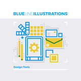 Design Tools Blue Line Illustration.