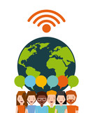 people cartoon over earth planet icon over white background. colorful design. people sharing concept. vector illustration