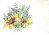 Watercolor floral bouquet with tiger lilies and clover flowers