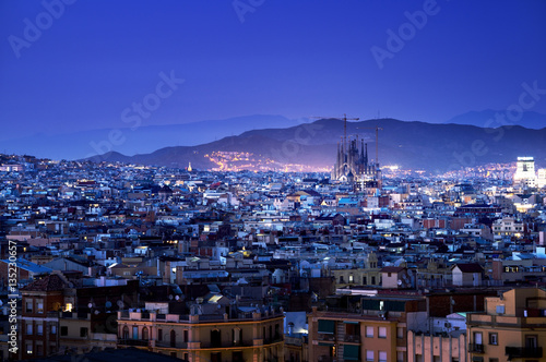 Foto op Aluminium Donkerblauw Barcelona in sunset time, Spain