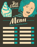 menu ice cream with girl in retro style