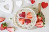 Love heart oatmeal, fun valentines breakfast