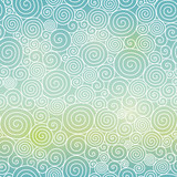 Vector Blue Green Sky Gradient Abstract Swirls Seamless Pattern Background. Great for elegant texture fabric, cards, wedding invitations, wallpaper. - 135247604
