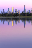 Melbourne Australia Skyline viewed from Albert Park Lake at Sunr