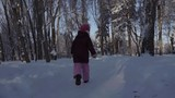 Footage Girl running in the winter park. Steadicam shot.