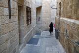 Narrow, dark lanes of the Jewish Quarter of the Old City of Jerusalem