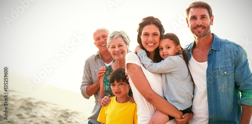 Portrait of family at beach