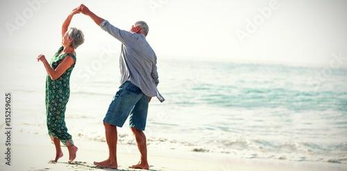 Senior couple dancing at beach - 135259625