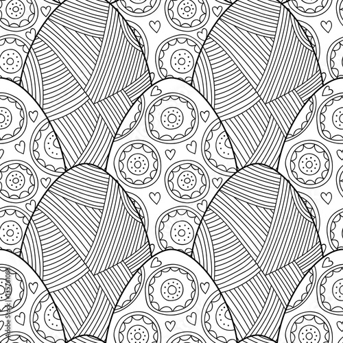 Cotton fabric Black, white seamless pattern of decorative eggs for coloring page.