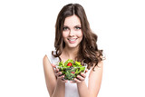 Woman with salad Isolated.