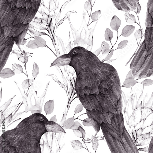 Watercolor seamless pattern with ravens and protea. Gothic print - 135280214