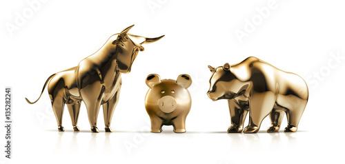 Bulle und Bär mit Sparschwein aus Gold