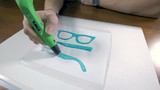 Printing with Plastic Wire Filament. 3D pen in work. 4K.