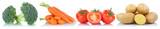 Gemüse Tomaten Kartoffeln Karotten Möhren in einer Reihe Freis