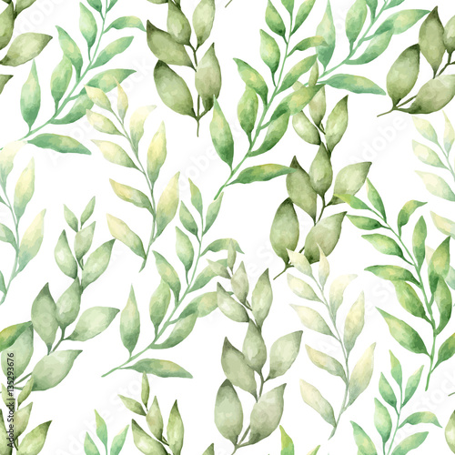 vector watercolor hand draw seamless pattern with different type of green leaves and branches © lyubov1148