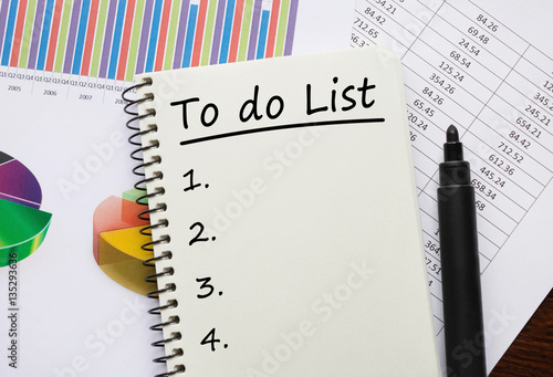 notebook with to do list concept poster affiche acheter le sur. Black Bedroom Furniture Sets. Home Design Ideas