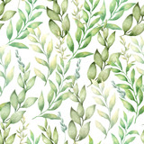 vector watercolor hand draw seamless pattern with different type of green leaves and branches
