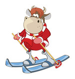 Illustration of a Cute Cow. Cartoon Character