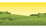 Beautiful Sunset Green Park Landscape Vector Illustration