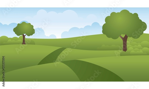 Foto op Canvas Pistache Green Hills Landscape Vector Illustration