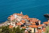 Aerial view of Tellaro, ancient village near Lerici, La Spezia, Liguria, Italy