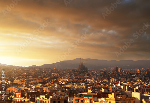 Barcelona in sunset time, Spain