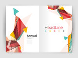 Triangles and lines, annual report flyer brochure template