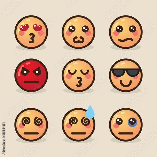 vector illustration style kawaii emoticons with various emotions on a light background - 135344651