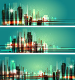 Vector illustration of city at night. Cityscape lights. - 135349222