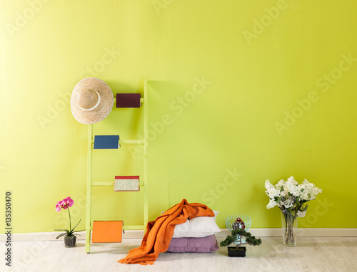 Fototapeta green wall background stairs decoration