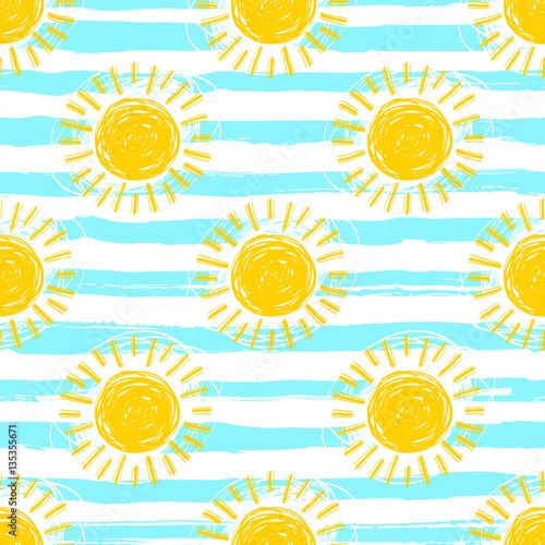 Sun pattern seamless, striped background. Hand drawn yellow sunshine icons. Cute hand-drawn summer symbols, Vector sketch