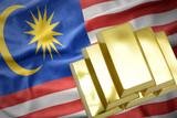shining golden bullions on the malaysia flag