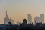 panorama over Warsaw center with heavy smog