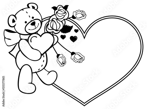 Heart Shaped Frame With Outline Roses Teddy Bear Holding Heart