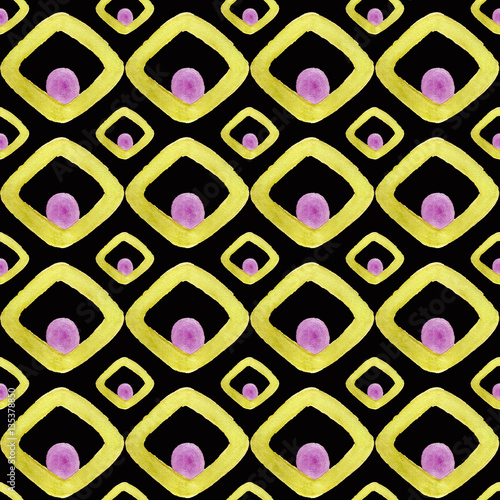 Moroccan seamless pattern from watrcolor gold elements on a deep dark background - 135378850