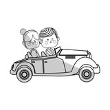 kawaii couple in love on a car over white background. vector illustration