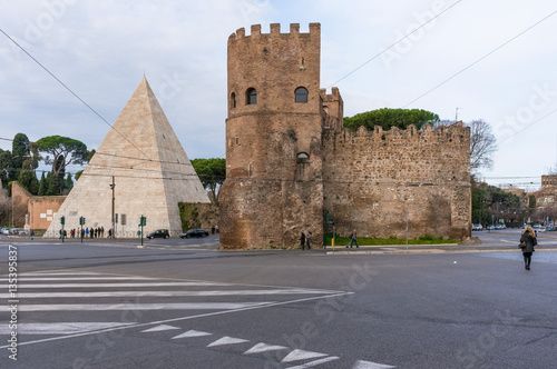 ROME, ITALY - The Pyramid of Cestius, near the Porta San Paolo and the Protestant Cemetery in Ostiense district.