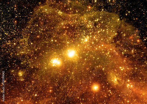 Stars, dust and gas nebula in a far galaxy
