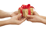 People giving gift in box