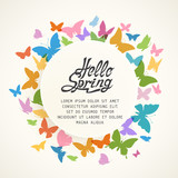Colorful Spring Background with Butterflies