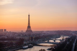 The Eiffel Tower at sunset in Paris, France