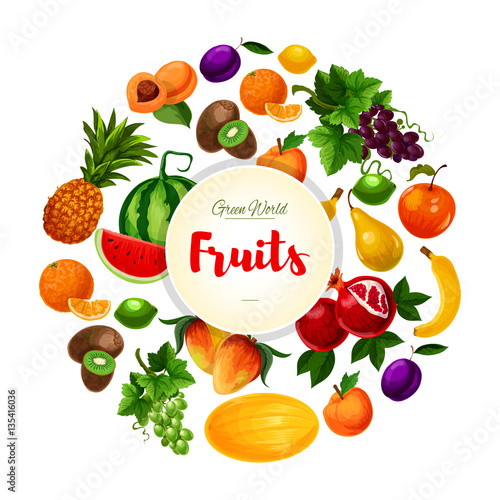 Garden and exoic fruits vector round poster