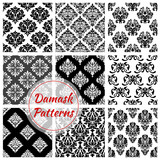 Floral Damask pattern set, flowery vector ornament