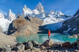 Woman admiring Fitz Roy scenic view