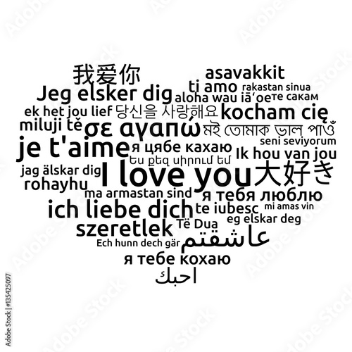 I Love You In Different Language Words Heart T Shirt Print
